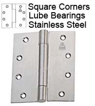 4-1/2 x 4-1/2 Stainless Steel Hinge with Lube Bearings, Bommer LB8002-450-630