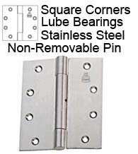5 x 5 Stainless Steel Hinge with Lube Bearing and Non-Removable Pin, Bommer LB8006-500N-630
