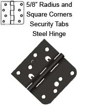4 x 4 x 5/8 Radius x Sq Corners Steel Hinge with Security Lock Tabs, Pair, Deltana DE44058TT