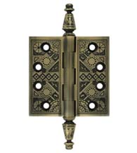 3-1/2 x 3-1/2 Ornate Brass Hinge With Finials, Pair, Deltana DSBP35