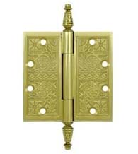 4 x 4  Solid Brass Ornate Hinge With Finials, Pair, Deltana DSBP44