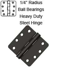 4 x 4 x 1/4 Radius Heavy Duty Steel Hinges With 2 Ball Bearings, Pair, Deltana S44R4HDB
