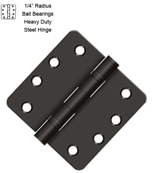 4 x 1/4 Radius Corner Hinge With Bearings