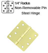4 x 4 x 1/4 Radius Non-Removable Pin Steel Hinges, Pair, Deltana S44R4N