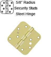 4 x 4 x 5/8 Radius Residential Steel Hinges with Security Stud, Pair, Deltana S44R5-SEC