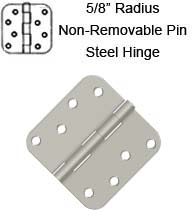 4 x 4 x 5/8 Radius Non-Removable Pin Steel Hinges, Pair, Deltana S44R5N