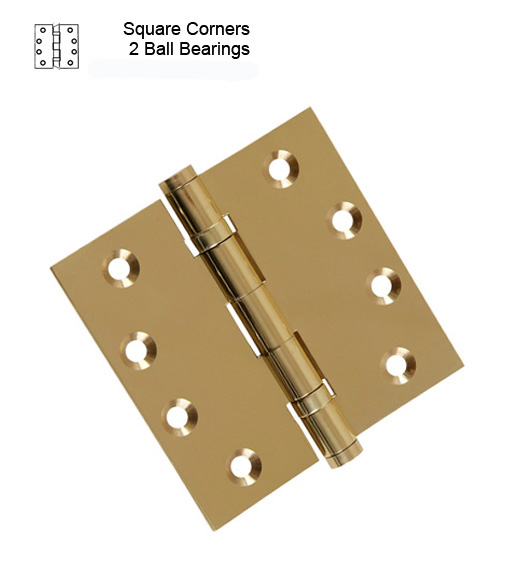 Hager 4-1/2 x 4-1/2 Polished Brass Commercial Hinge, 2 Ball