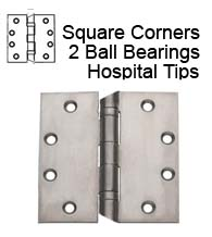 4-1/2 x 4-1/2 Hospital Tip Door Hinge with 2 Ball Bearings