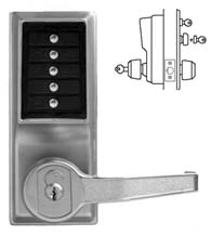 Simplex Keypad Entry Lever Lock with Passage Feature and Key Override, KABA L1041