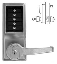 Simplex Keypad Entry Lever Lock with Privacy Feature and Key Override, KABA L1076