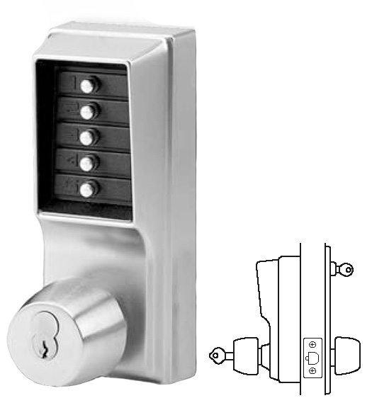 Kaba Tribute Feat Smart: Simplex Keypad Entry Lock With Key Override, KABA 1021