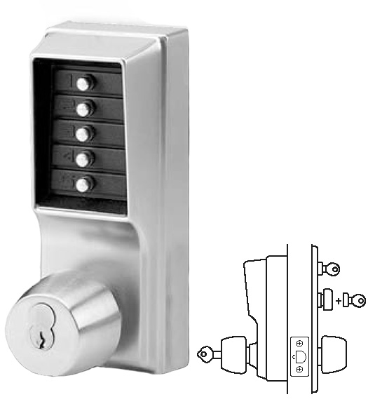 Simplex Keypad Entry Lock With Passage Feature And Key Override