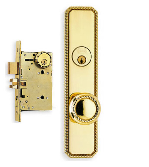 Decorative Rope Door Knob Mortise Lockset Omnia 24441