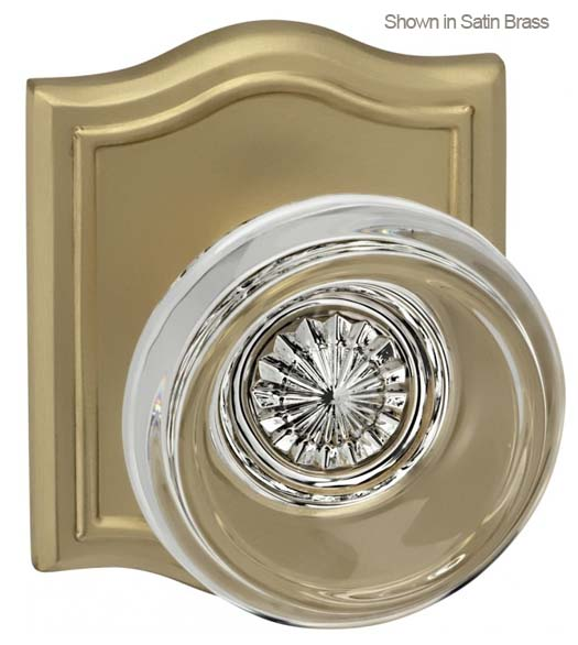 Contemporary Glass Knob With Arched Rose