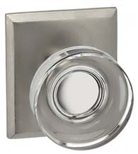 Clear Door Knob with Rectangle Plate, Omnia 936RT