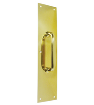 Solid Brass 3-1/2 by 15 Pull Plate with Handle, Deltana PPH55