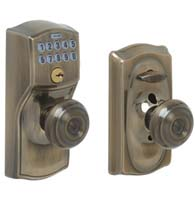 Camelot Keypad Entry With Georgian Knob, Schlage FE595CAMGEO