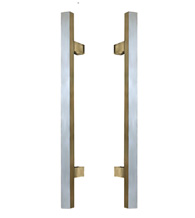 9 Inch Modern Square Stainless Steel Shower Pulls, Pair, First Impressions SD-SQDP/9-US32D