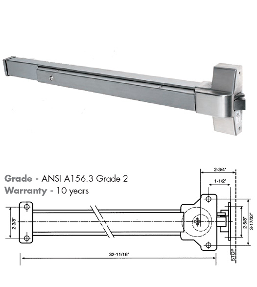 36 Inch Wide Door Push Bar Exit Device