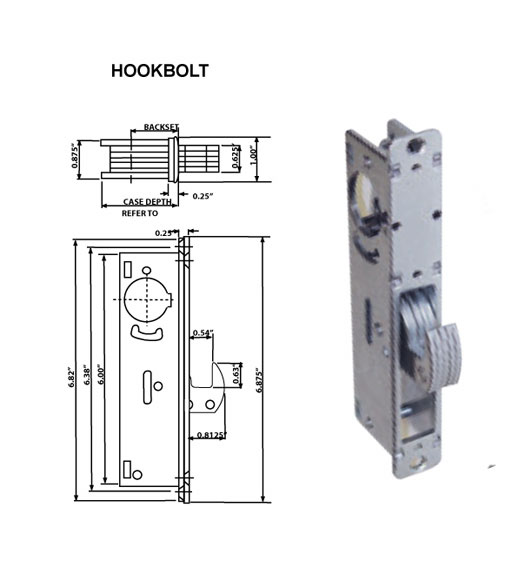 Mortise Lock Hookbolt