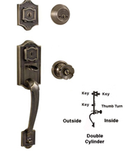 Colonial Dual Keyed Double Cylinder Handleset, Weslock 1313/1302