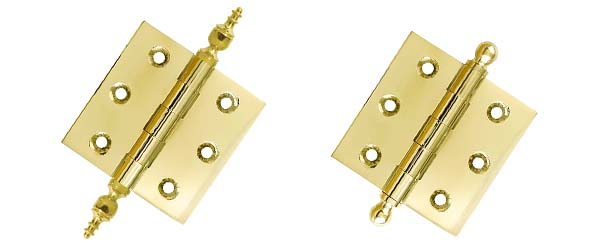 solid brass hinges with finials