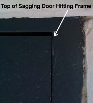 sagging door before picture