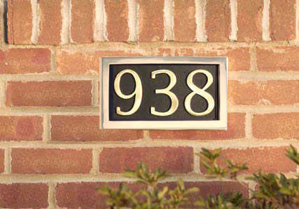 Brass Accents 3 House Number Address Plate Example