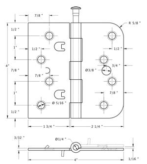 4 X 4 X 5 8 Radius X Sq Corners Steel Hinge With Security