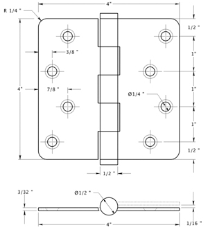 Deltana DSB4R4x-RZ Hinge Specifications