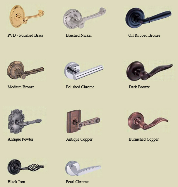 Bon Door Hardware Finishes By Manufacture
