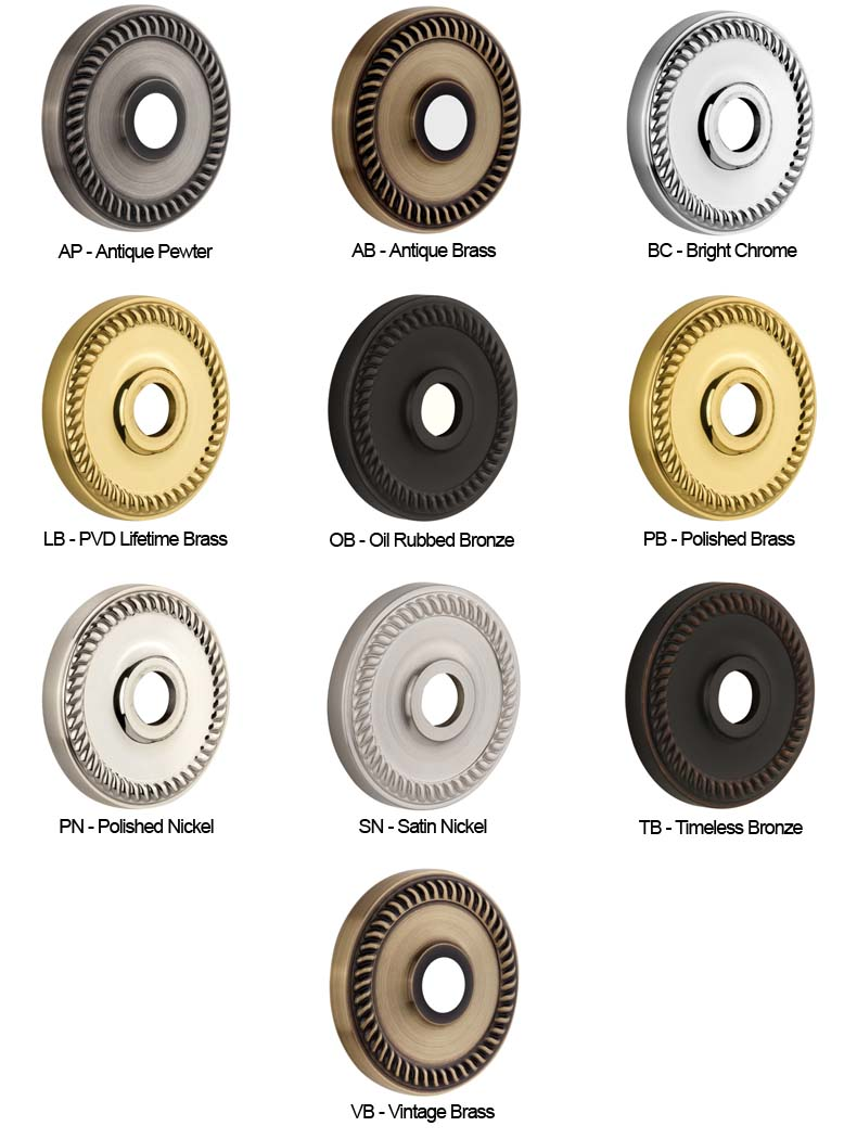 Grandeur door hardware finish color chart