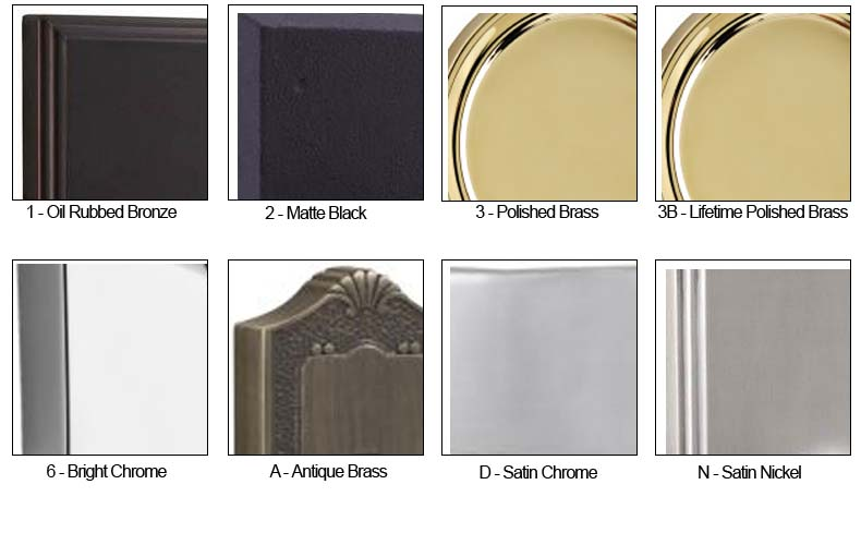 Weslock door hardware finish color chart